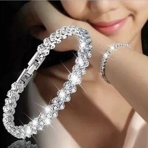 """Crystal Diamond Heart Tennis Bling Bracelet 7"""""""